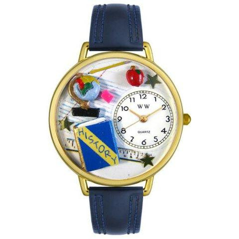 Whimsical Unisex History Teacher Navy Blue Leather Watch