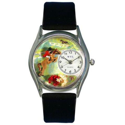 Whimsical Womens Horse Competition Black Leather Watch