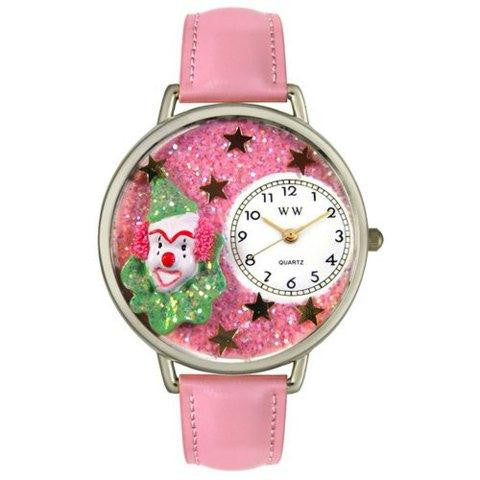 Whimsical Unisex Pink Glitter Clown Pink Leather Watch