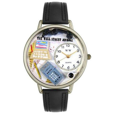 Whimsical Unisex AccounTant Black Padded Leather Watch