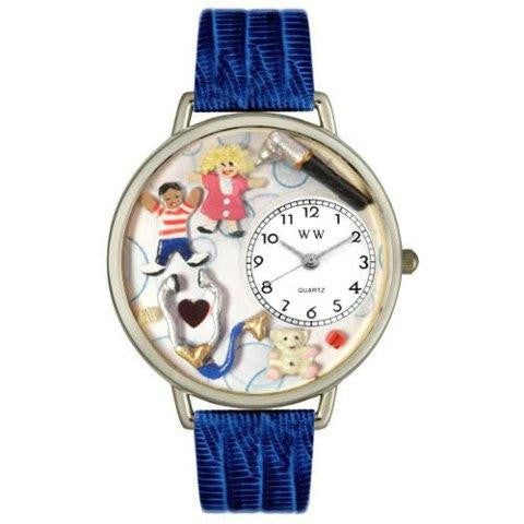 Whimsical Unisex Pediatrician Royal Blue Leather Watch