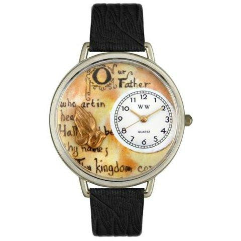 Whimsical Unisex Lords Prayer Black Skin Leather Watch
