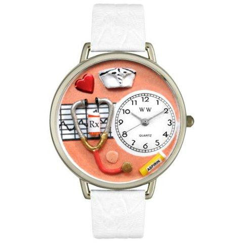 Whimsical Unisex Nurse Orange White Skin Leather Watch