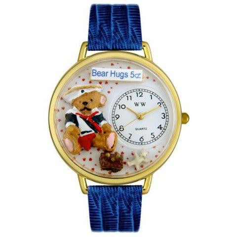 Whimsical Unisex Teddy Bear Hugs Royal Blue Leather Watch