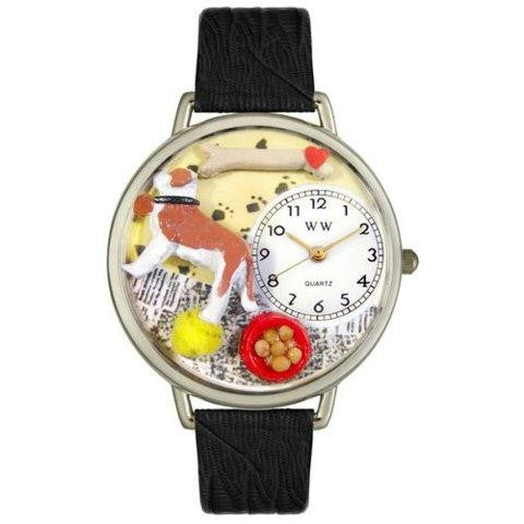Whimsical Unisex Saint Bernard Black Skin Leather Watch