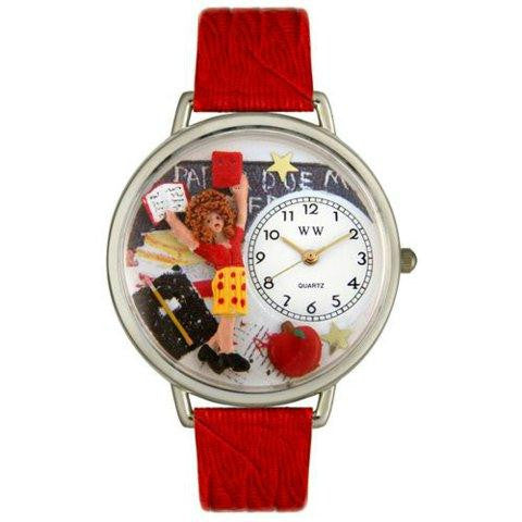 Whimsical Unisex Kindergarten Teacher Red Leather Watch