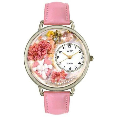 Whimsical Unisex Valentines Day Pink Pink Leather Watch