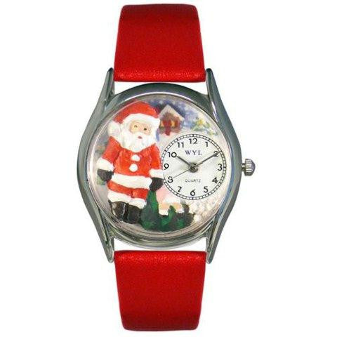 Whimsical Womens Christmas Santa Claus Red Leather Watch