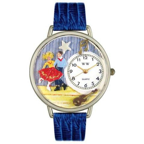 Whimsical Unisex Square Dancing Royal Blue Leather Watch