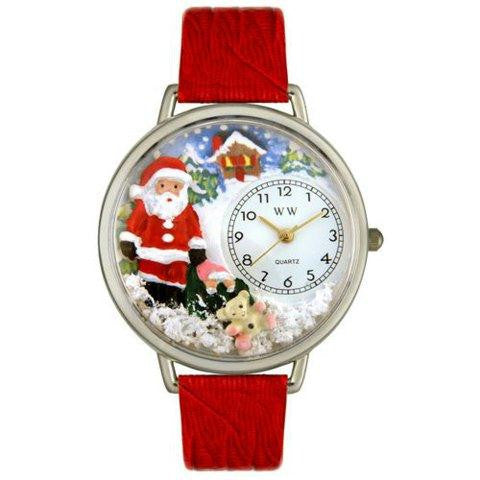 Whimsical Unisex Christmas Santa Claus Red Leather Watch