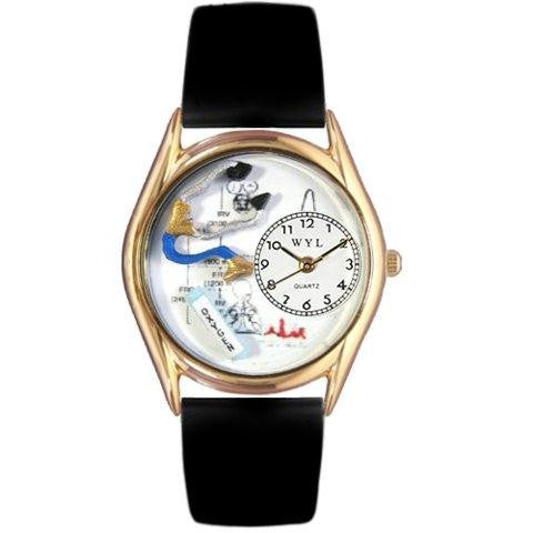 Whimsical Womens Respiratory Therapist Black Leather Watch