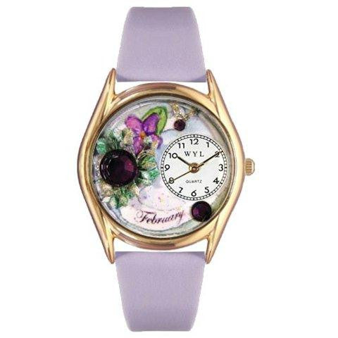 Whimsical Womens Birthstone: February Purple Leather Watch