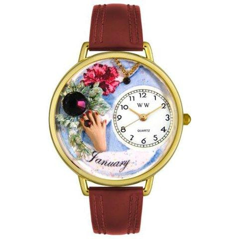 Whimsical Unisex Birthstone: January Burgundy Leather Watch