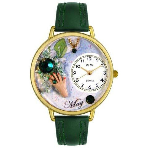 Whimsical Unisex Birthstone: May Hunter Green Leather Watch