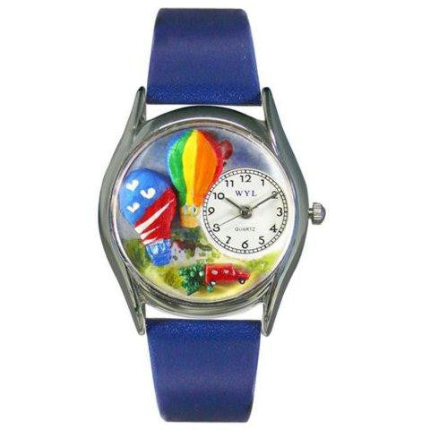 Whimsical Womens Hot Air Ballons Royal Blue Leather Watch