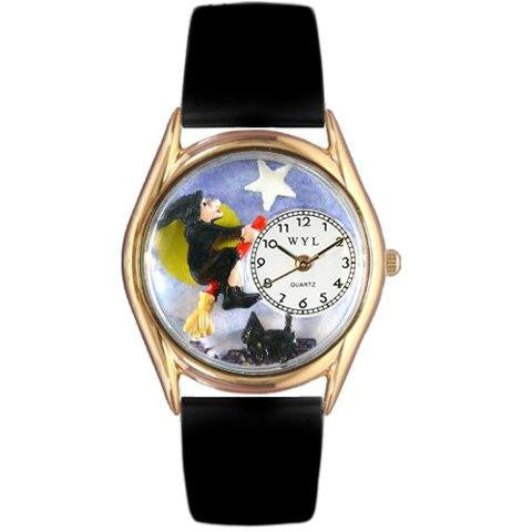 Whimsical Womens Halloween Flying Witch Black Leather Watch