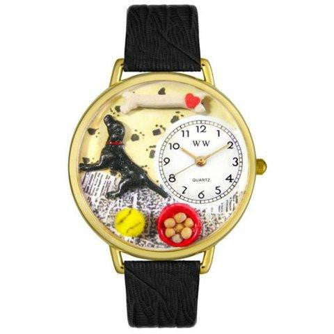 Whimsical Unisex Labrador Retriever Black Skin Leather Watch