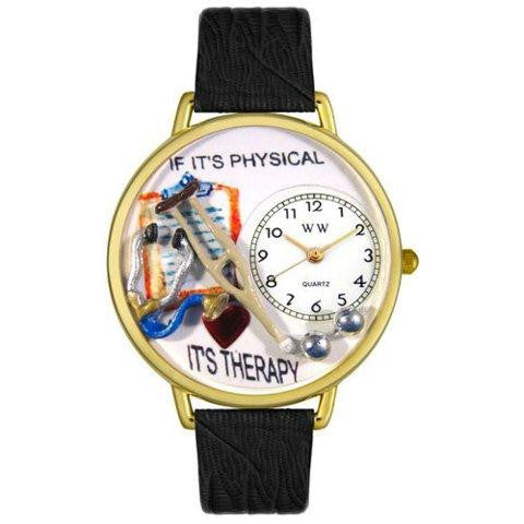 Whimsical Unisex Physical Therapist Black Skin Leather Watch