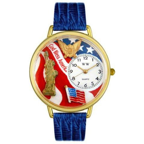 Whimsical Unisex July 4th Patriotic Royal Blue Leather Watch