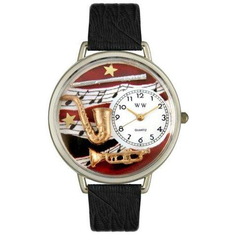 Whimsical Unisex Wind Instruments Black Skin Leather Watch