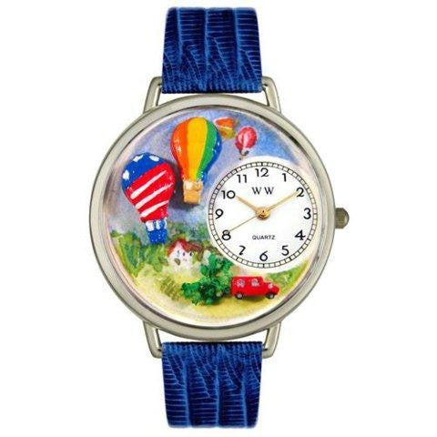 Whimsical Unisex Hot Air Balloons Royal Blue Leather Watch