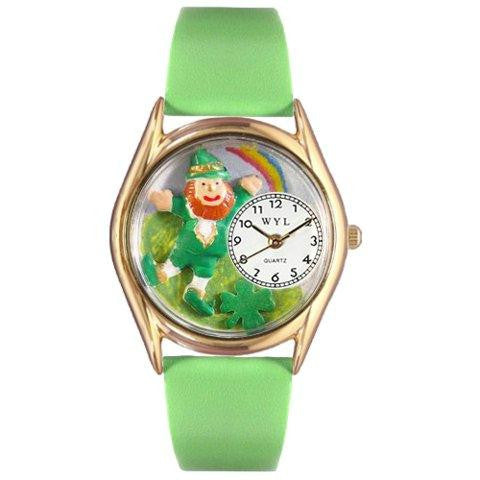 Whimsical Womens St.Patricks Day Rainbow Green Leather Watch