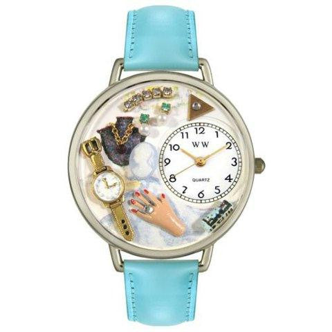 Whimsical Unisex Jewelry Lover Blue Baby Blue Leather Watch
