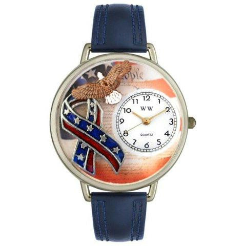 Whimsical Unisex American Patriotic Navy Blue Leather Watch