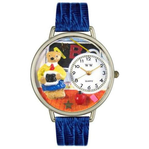 Whimsical Unisex Teacher Teddy Bear Royal Blue Leather Watch