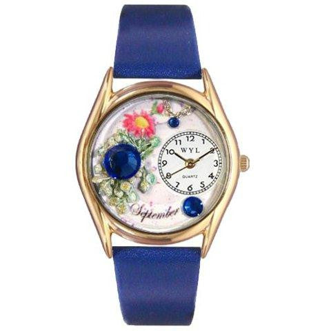 Whimsical Womens Birthstone: September Royal Blue Leather Watch