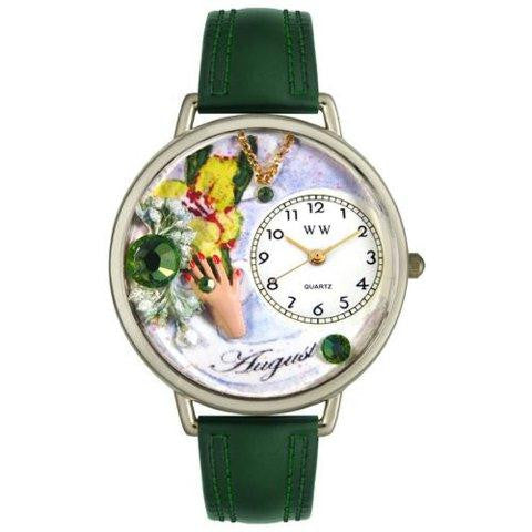Whimsical Unisex Birthstone: August Hunter Green Leather Watch