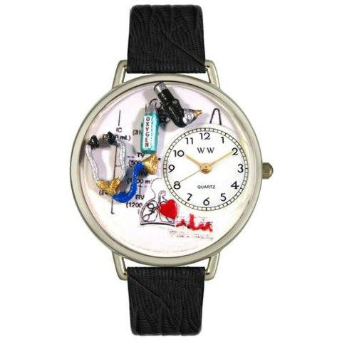 Whimsical Unisex Respiratory Therapist Black Skin Leather Watch