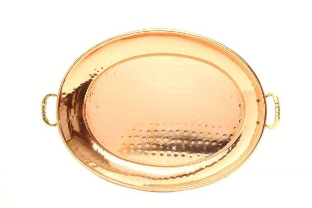 13  x 8  Oval D cor Copper Tray w-Cast Brass Handle