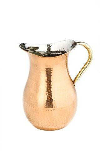 2  Qt D cor Copper Hammered Water Pitcher w-Brass Ice Guard-Handle
