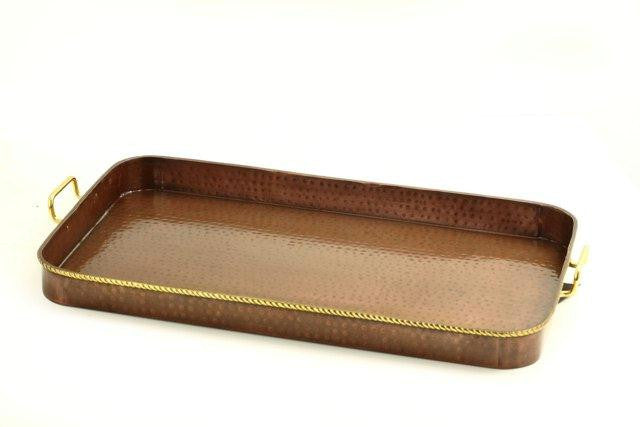 24 x 14  x 2 Oblong Antique Copper Tray