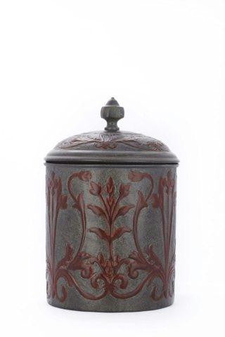7 x 10.5 Art Nouveau Cookie Jar w-Fresh Seal Cover 4Qt