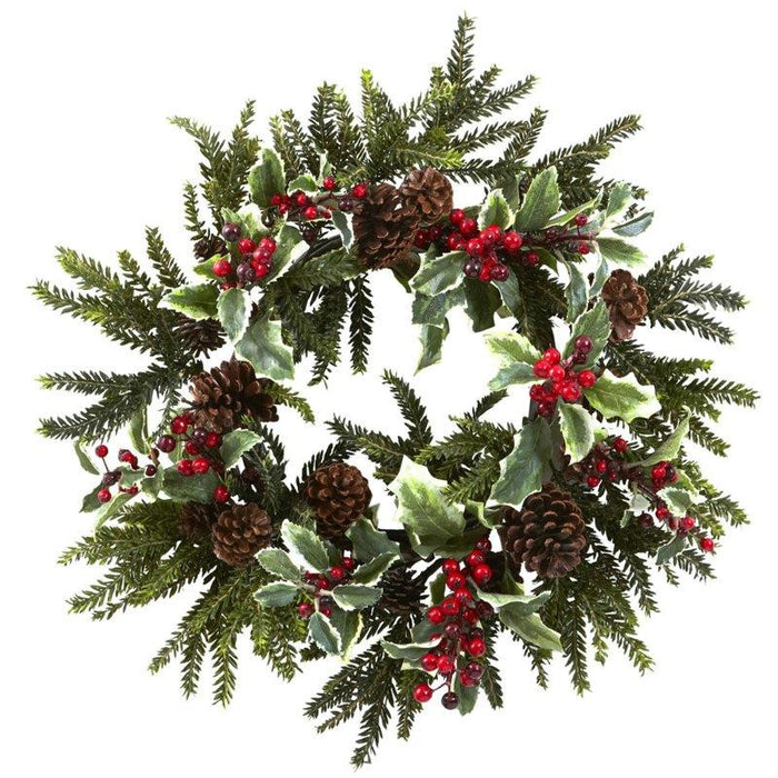 22 Inch Holly Berry Wreath