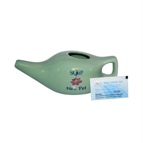 Squip Products Ceramic Neti Pot with 20 Saline Solution Packets - 13.3 oz