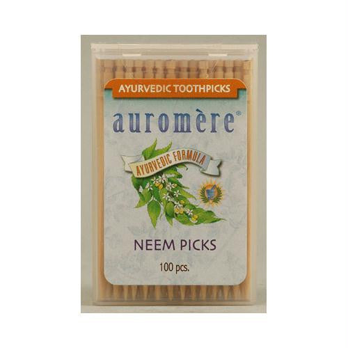 Auromere Ayurvedic Neem Picks - 100 Toothpicks - Case of 12