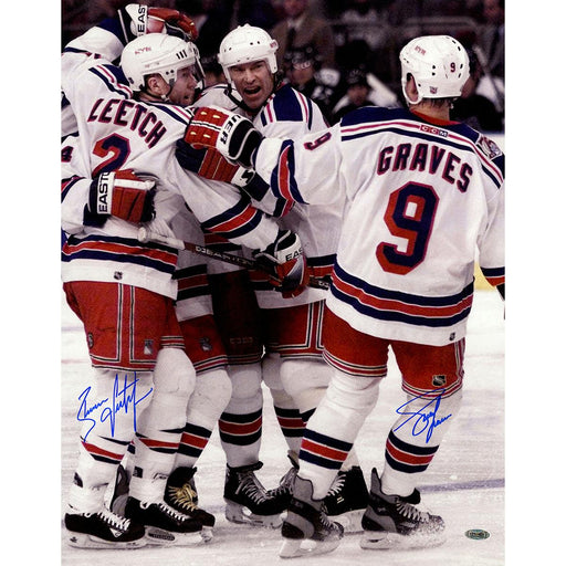 Adam GravesBrian Leetch Dual Signed Celebrating With Messier 16x20 Photo