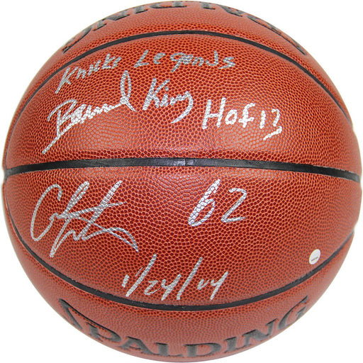 Bernard KingCarmelo Anthony Dual Signed IO NBA Brown Basketball w 62 12414 Insc By Anthony and Knicks Legends HOF 2013 Insc By K