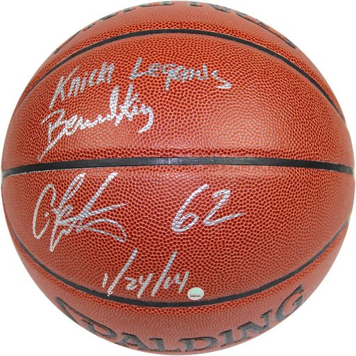 Bernard KingCarmelo Anthony Dual Signed IO NBA Brown Basketball w 62 12414 Insc By Anthony and Knicks Legends Insc By King