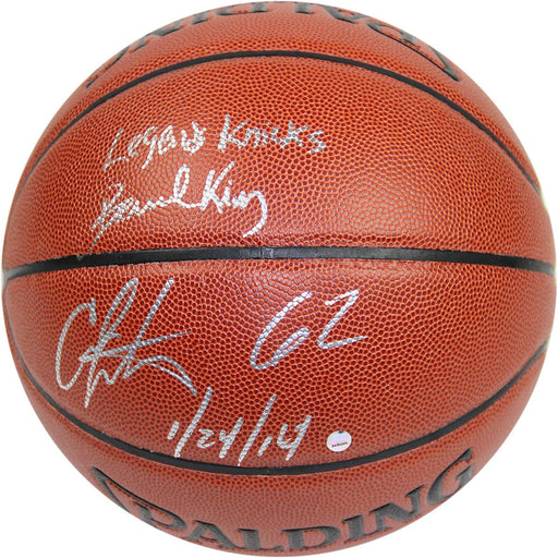 Bernard KingCarmelo Anthony Dual Signed IO NBA Brown Basketball w 62 12414 Insc By Anthony and Legends Knicks Insc By King