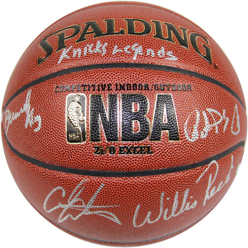 Bernard KingPatrick EwingCarmelo AnthonyWillis Reed Signed IO NBA Brown Basketball w Knicks Legends Insc