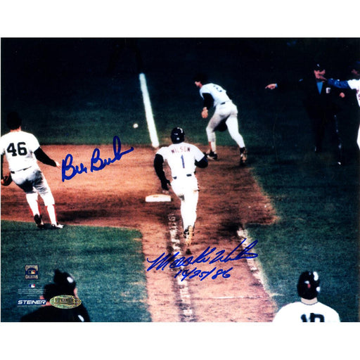Bill BucknerMookie Wilson Dual Signed 8x10 Photo w102586Insc.