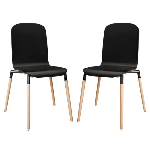 Stack Dining Chairs Wood Set of 2 1372-BLK