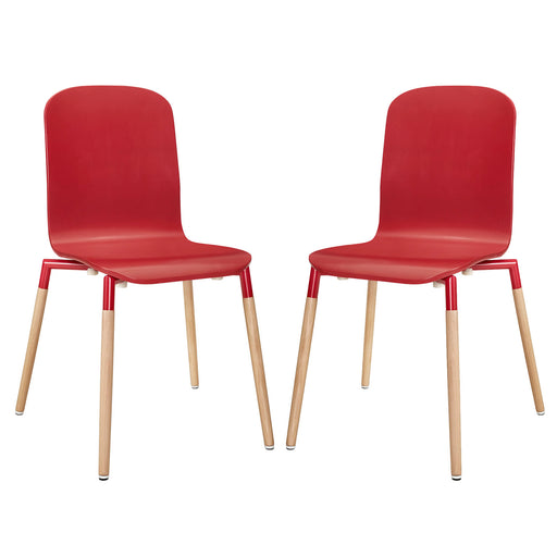 Stack Dining Chairs Wood Set of 2 1372-RED