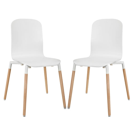 Stack Dining Chairs Wood Set of 2 1372-WHI
