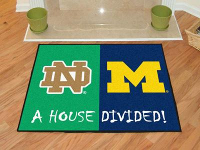 Notre Dame / Michigan NCAA House Divided Rug 33.75x42.5