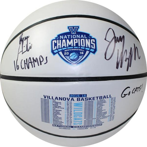 "Jay Wright & Ryan Arcidiacono Dual Signed 2016 NCAA Championship White Panel Basketball w/ ""16 Champs Go Cats"" Inscriptions With Case"